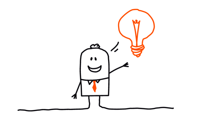 cartoon image of a character with an bright idea